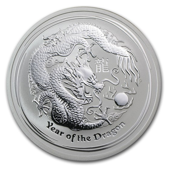 2012 Australia 2 oz Silver Year of the Dragon BU