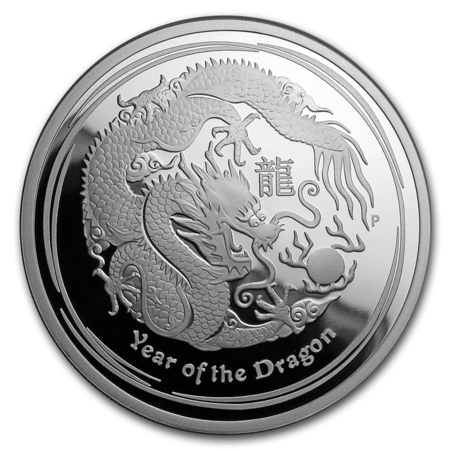 2012 Australia 2 oz Silver Year of the Dragon Proof
