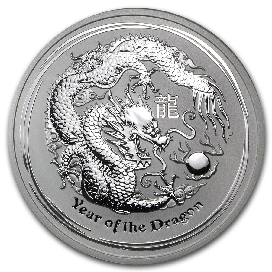 2012 Australia 5 oz Silver Year of the Dragon BU