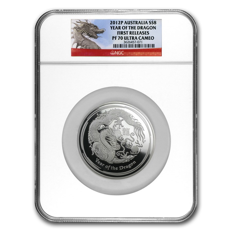 2012 Australia 5 oz Silver Year of the Dragon PF-70 NGC