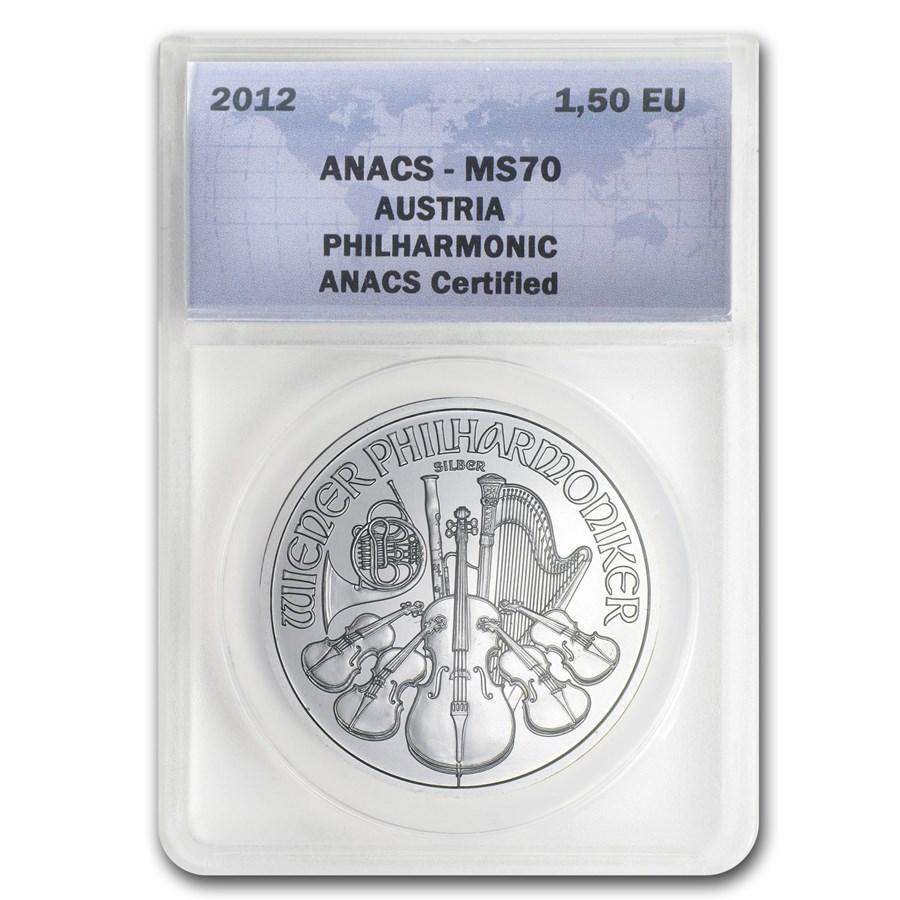 2012 Austria 1 oz Silver Philharmonic MS-70 ANACS