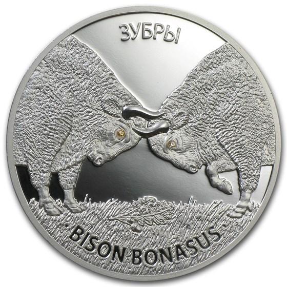 2012 Belarus 1 oz Silver Proof 20 Rubles Bison Bonasus