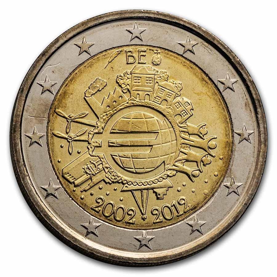 2012 Belgium 2 Euro 10 Years of the Euro BU