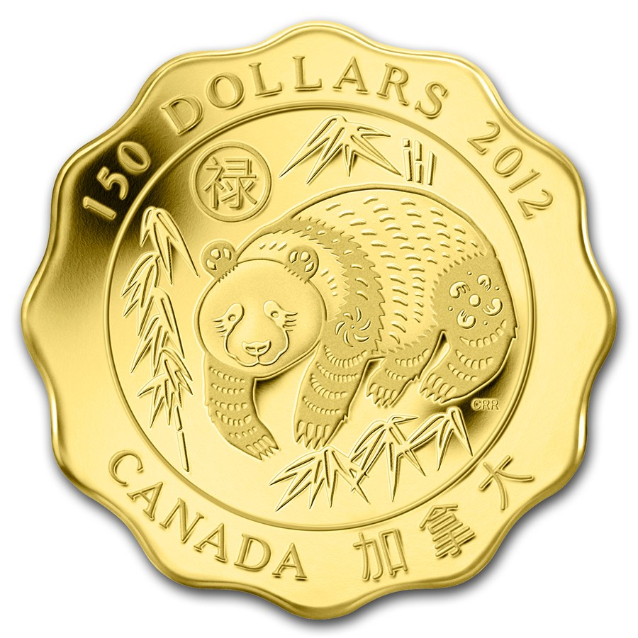 2012 Can Prf Gold $150 Scallop Panda Blessings of Good Fortune