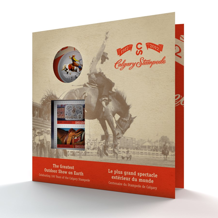 2012 Canada $0.25 Calgary Stampede Coin & Stamp Set (Colored)