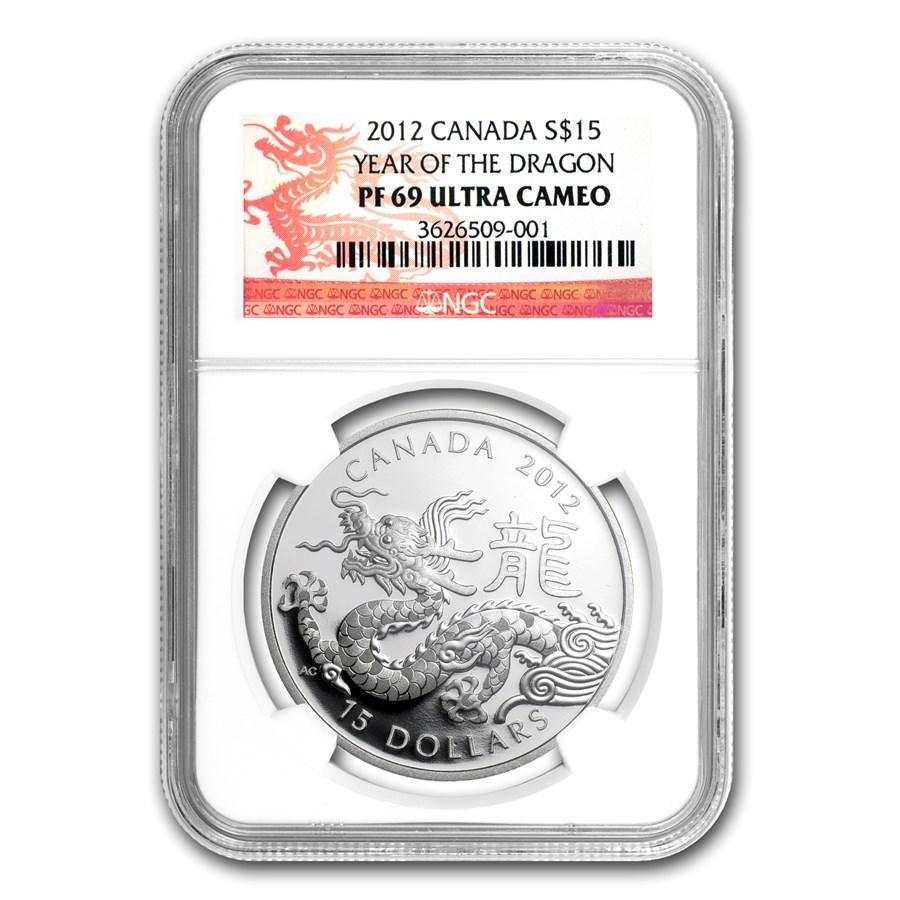 2012 Canada 1 oz Silver $15 Lunar Dragon PF-69 NGC