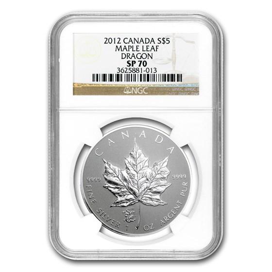 2012 Canada 1 oz Silver Maple Leaf Dragon Privy SP-70 NGC