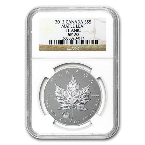 2012 Canada 1 oz Silver Maple Leaf Titanic Privy SP-70 NGC