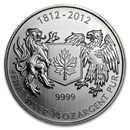 2012 Canada 3/4 oz Silver War of 1812 BU