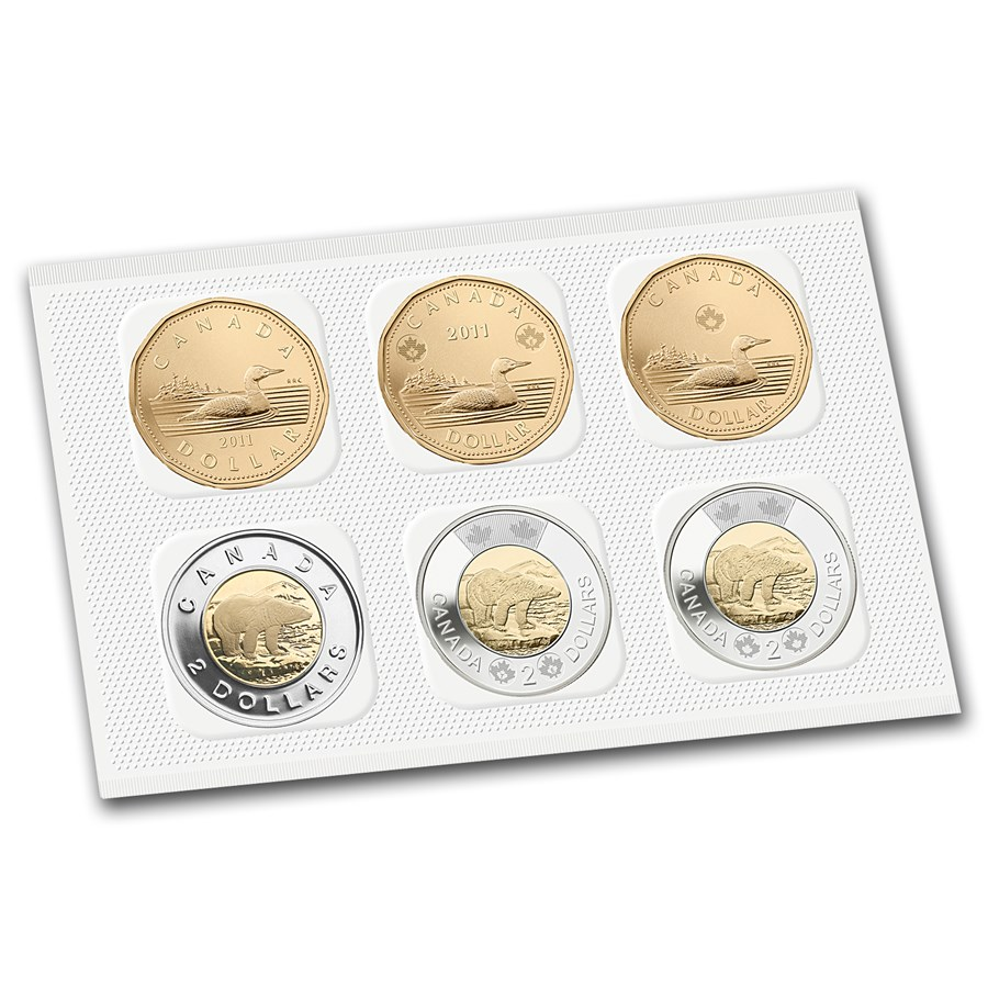 2012 Canada 6-Coin $1 & $2 Circulation and Test Coin Set