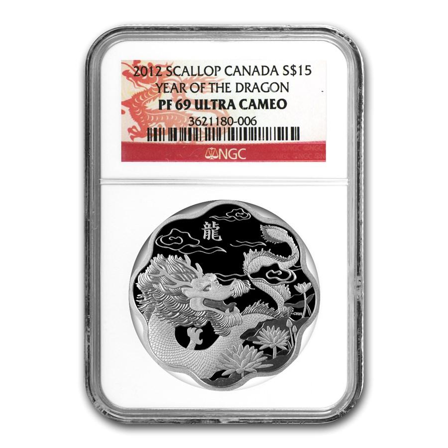 2012 Canada Silver $15 Lunar Lotus Dragon PF-69 NGC