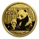 2012 China 1/20 oz Gold Panda BU (Sealed)