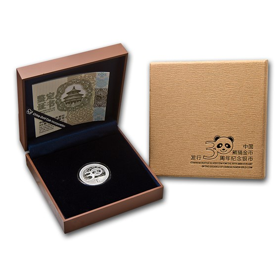 2012 China 1/4 oz Silver Panda 30th Anniversary (w/Box & COA)