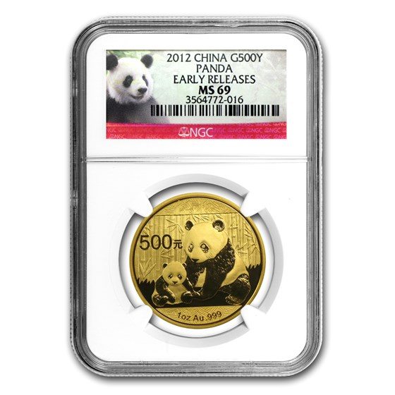 2012 China 1 oz Gold Panda MS-69 NGC (ER)