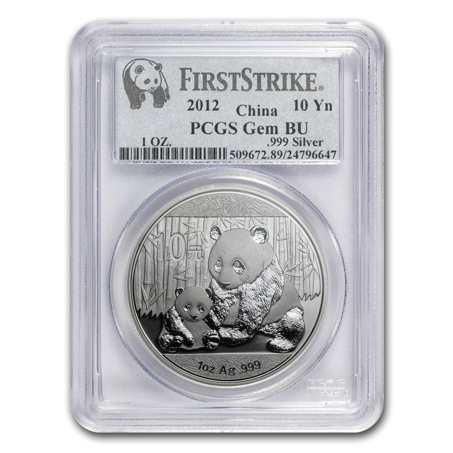 2012 China 1 oz Silver Panda Gem BU PCGS (FirstStrike®)