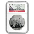 2012 China 1 oz Silver Panda MS-69 NGC (First Releases)