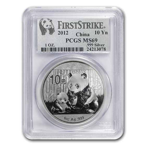 2012 China 1 oz Silver Panda MS-69 PCGS (FirstStrike®)