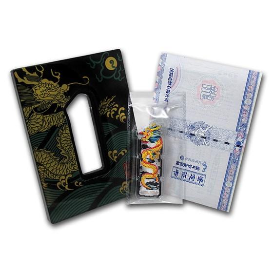 2012 China 28 gram Silver Dragon Bar (Colorized, w/o Box)