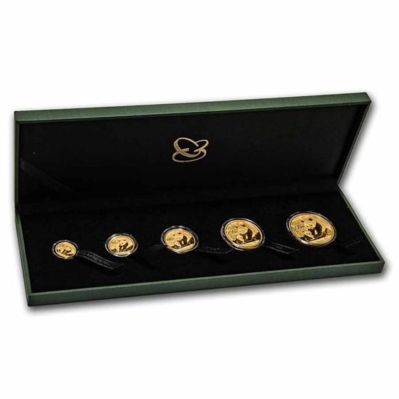 2012 China 5-Coin Gold Panda Set BU (w/Box & CoA)