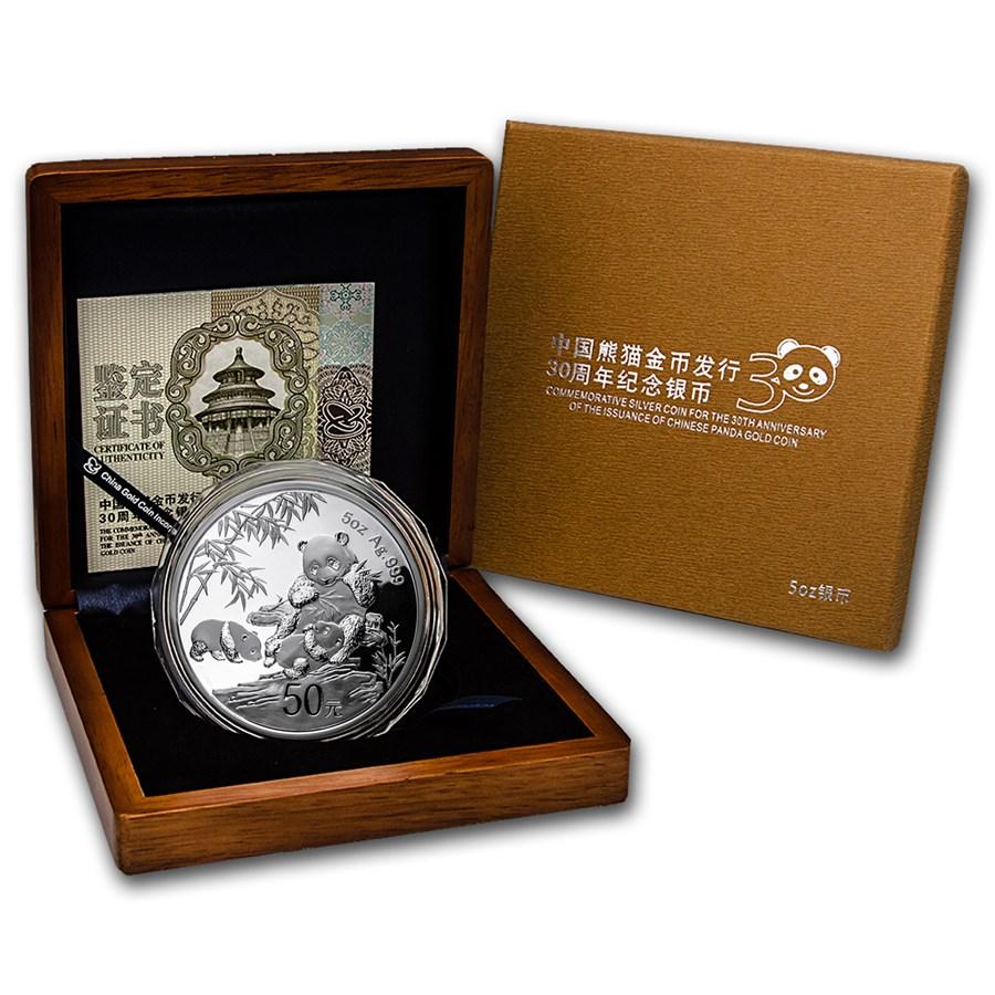 2012 China 5 oz Silver Panda 30th Anniv Proof (w/Box & COA)