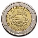 2012 Cyprus 2 Euro 10 Years of the Euro BU