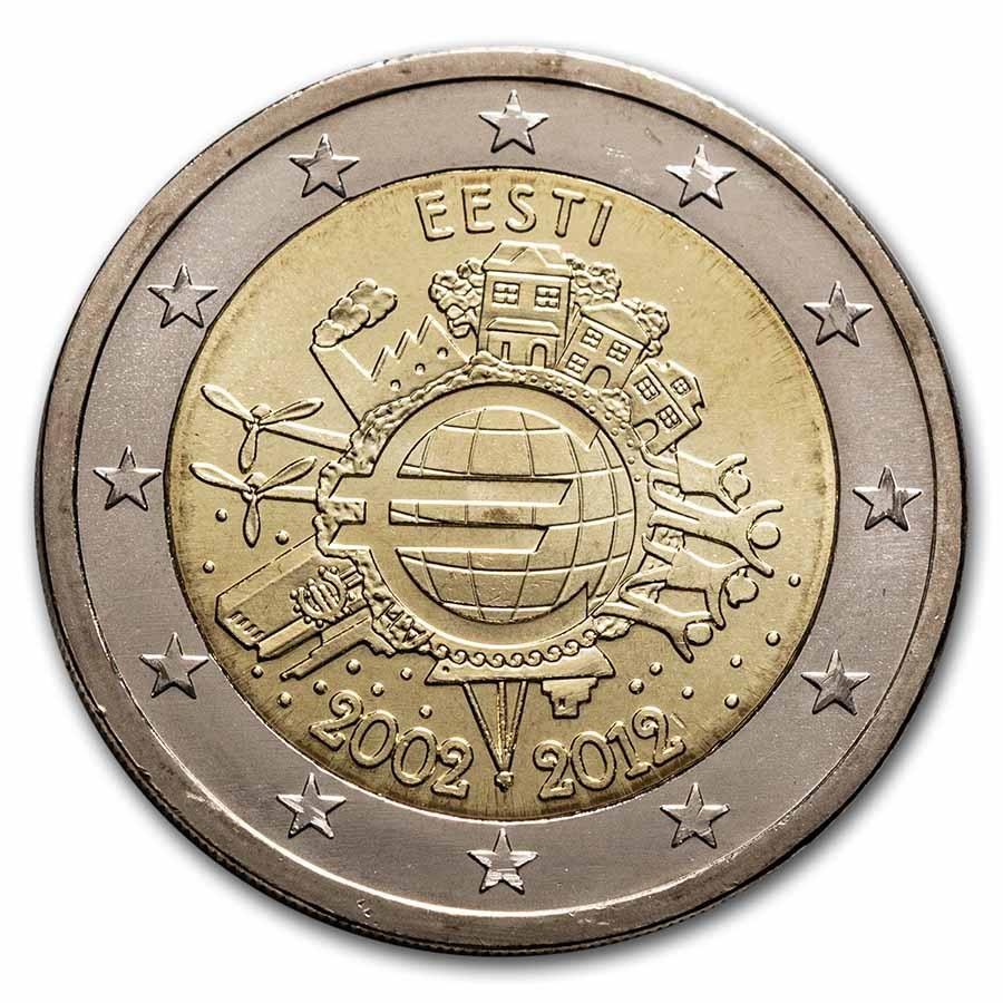 2012 Estonia 2 Euro 10 Years of the Euro BU