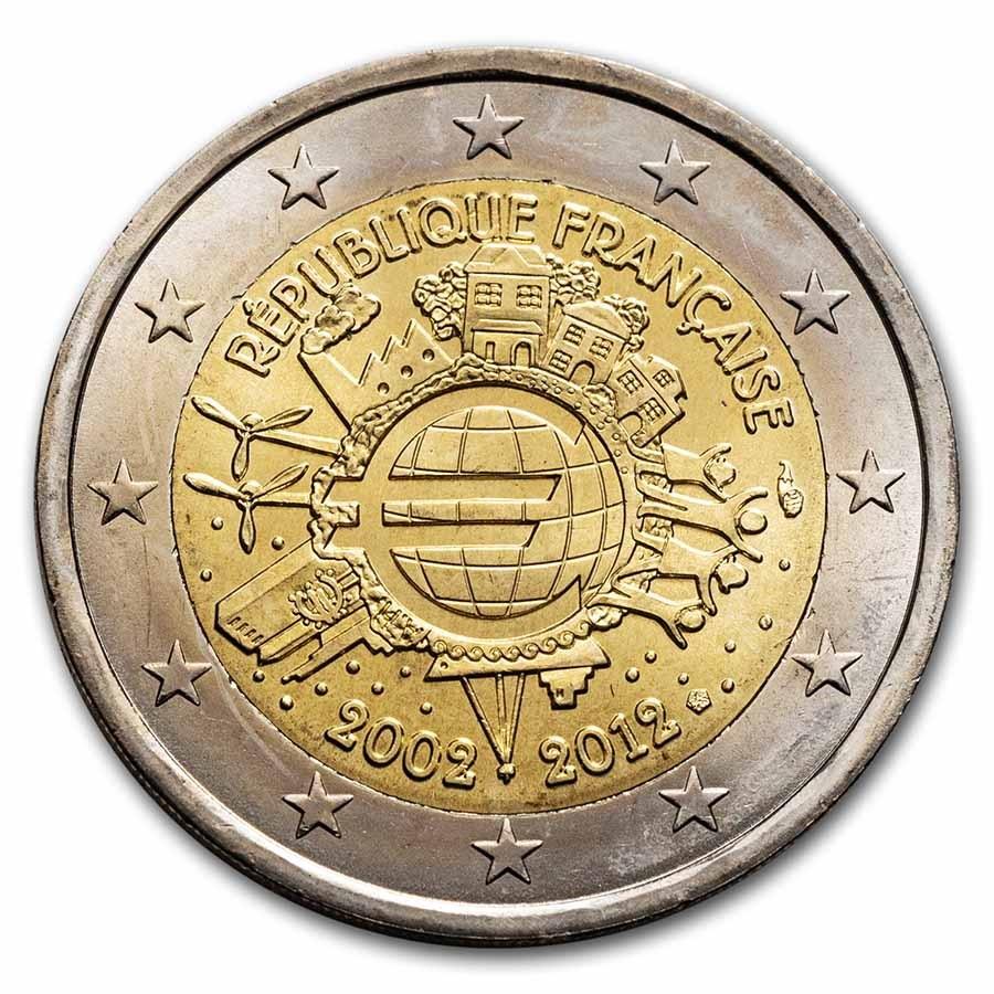 2012 France 2 Euro 10 Years of the Euro BU