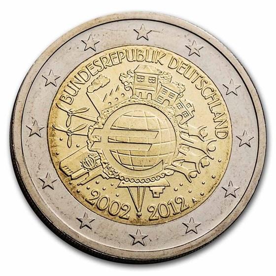 2012 Germany 2 Euro 10 Years of the Euro BU