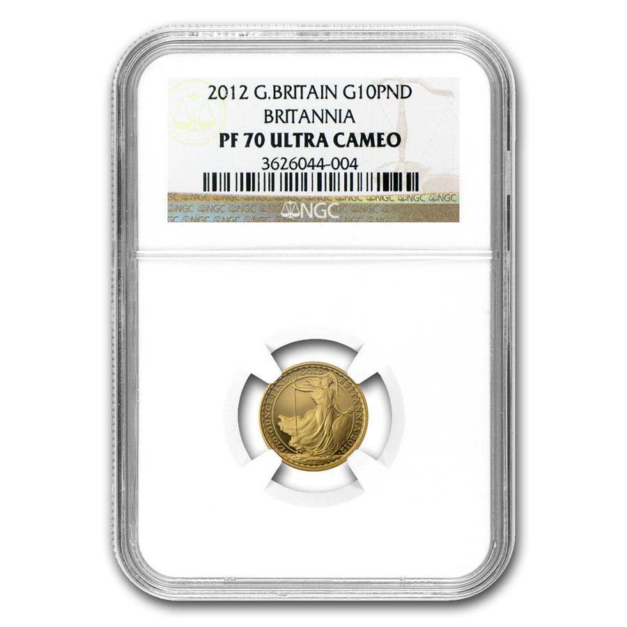 2012 Great Britain 1/10 oz Proof Gold Britannia PF-70 NGC