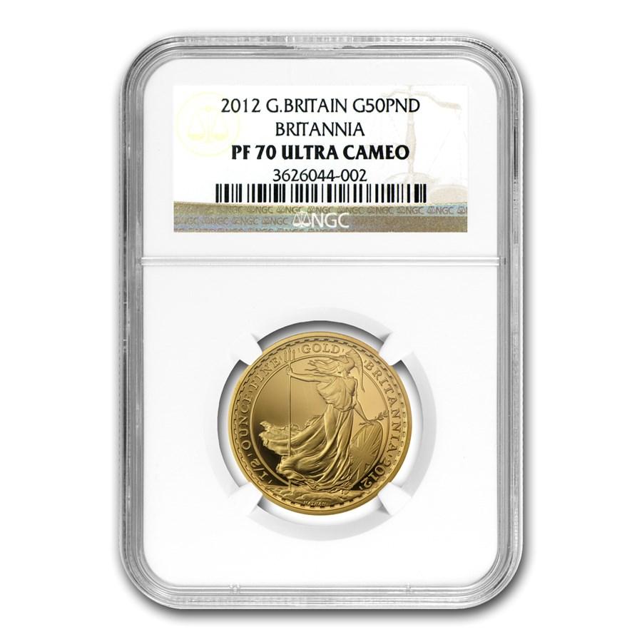 2012 Great Britain 1/2 oz Proof Gold Britannia PF-70 NGC