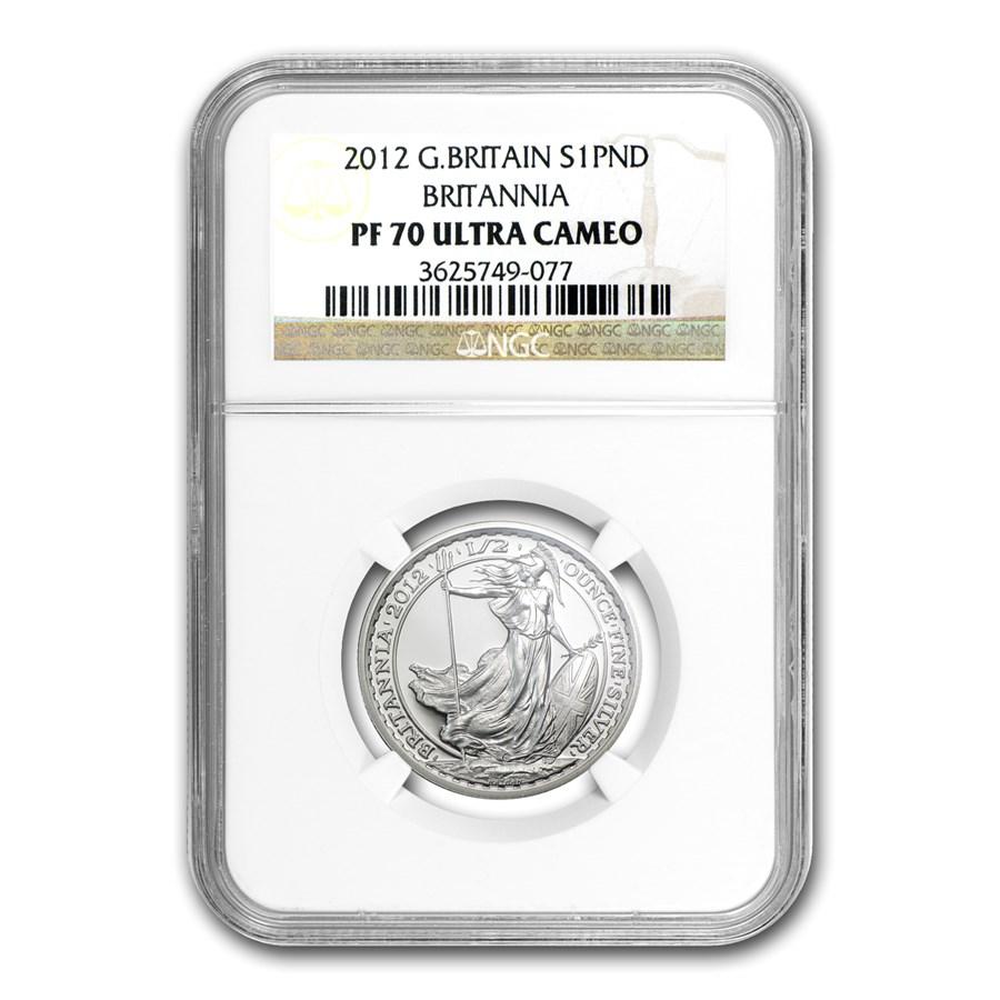 2012 Great Britain 1/2 oz Silver Britannia PF-70 NGC