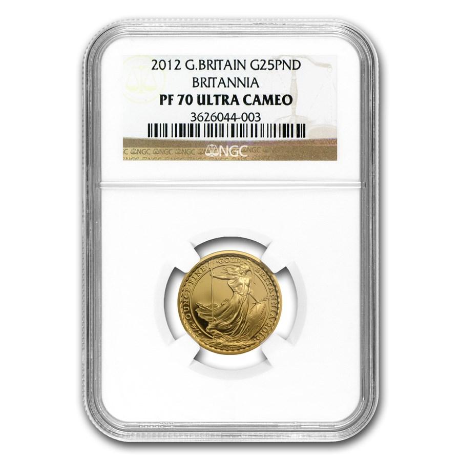 2012 Great Britain 1/4 oz Proof Gold Britannia PF-70 NGC