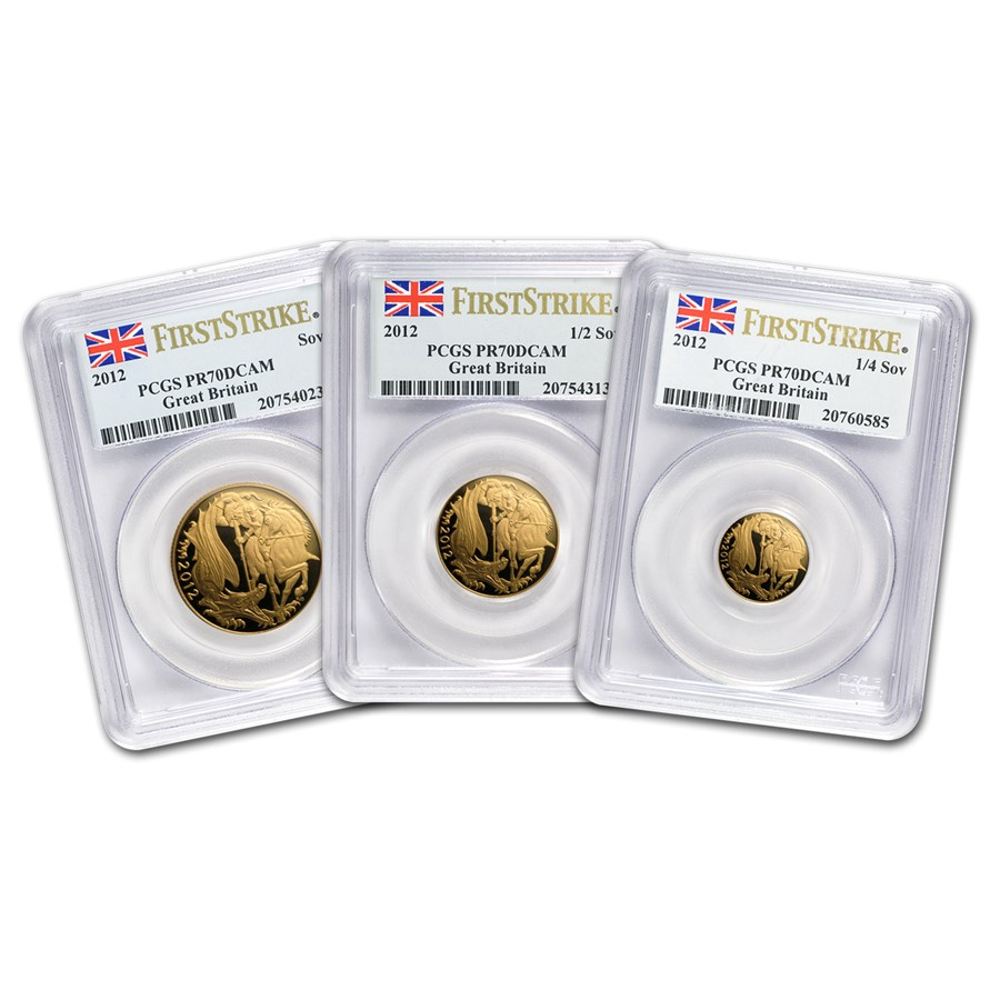 2012 Great Britain 3-Coin Gold Sovereign Set PR-70 PCGS (FS)