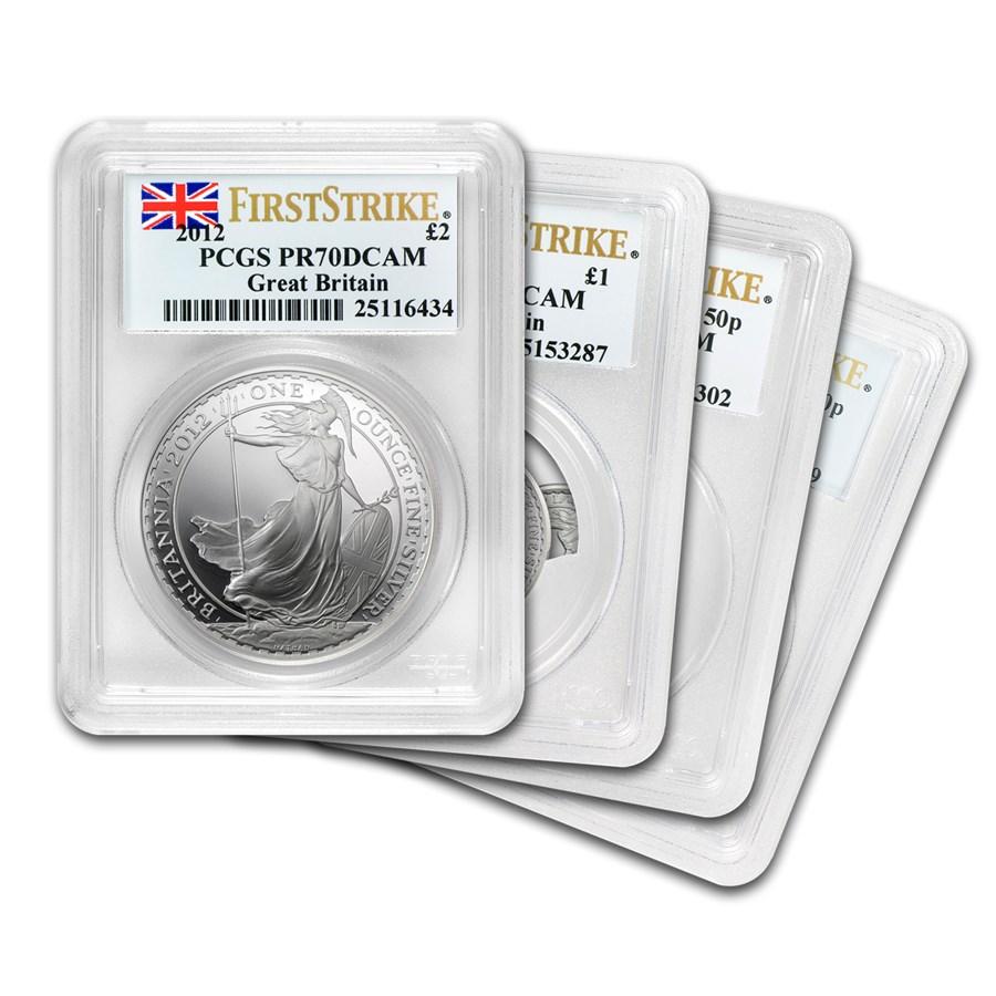 2012 Great Britain 4-Coin Silver Britannia Set PR-70 PCGS (FS)
