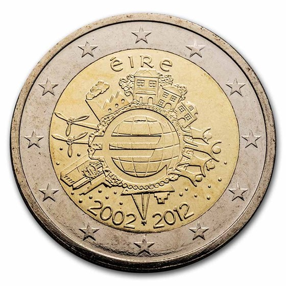 2012 Ireland 2 Euro 10 Years of the Euro BU