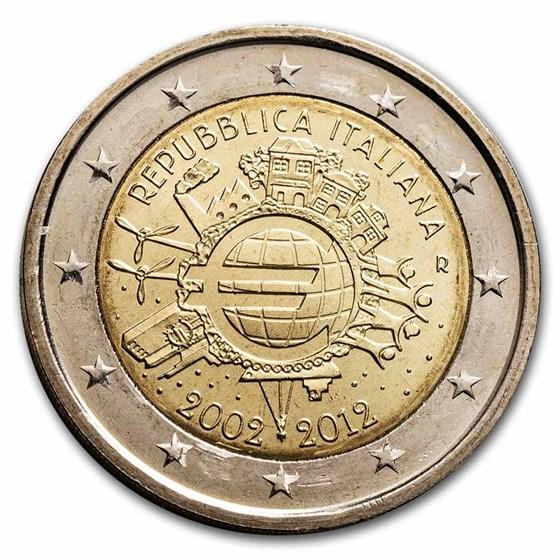 2012 Italy 2 Euro 10 Years of the Euro BU