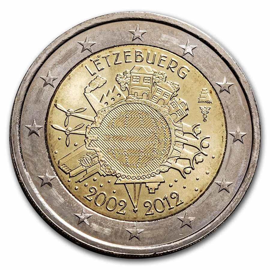 2012 Luxembourg 2 Euro 10 Years of the Euro BU