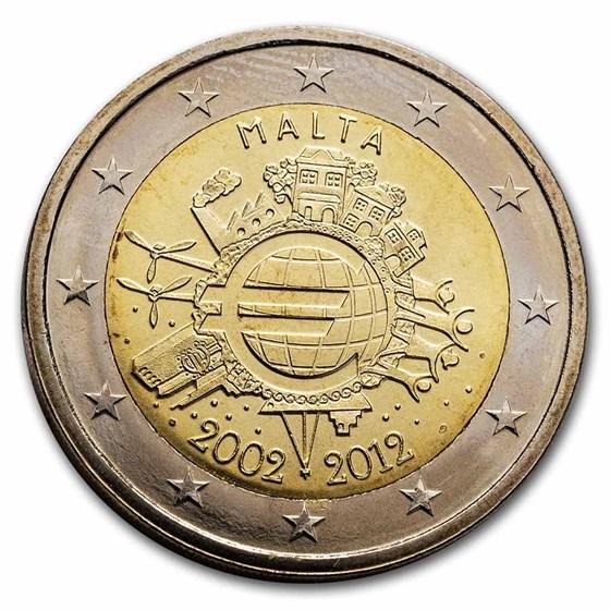 2012 Malta 2 Euro 10 Years of the Euro BU