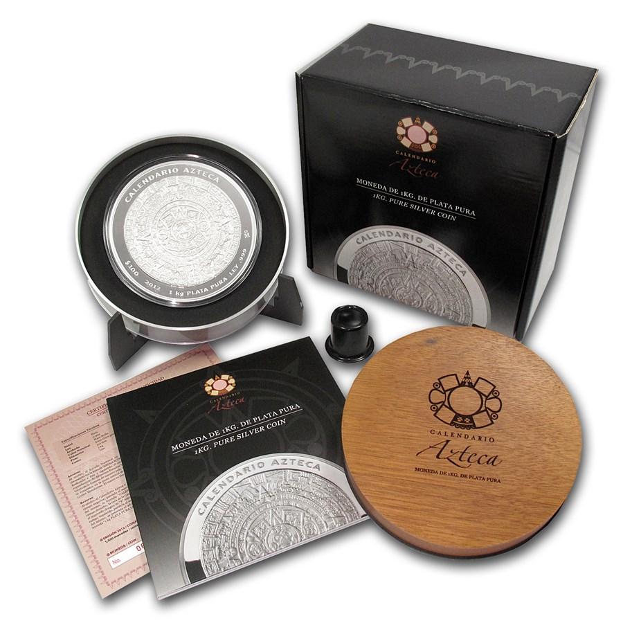 2012 Mexico 1 kilo Silver Aztec Calendar (w/Box & COA)