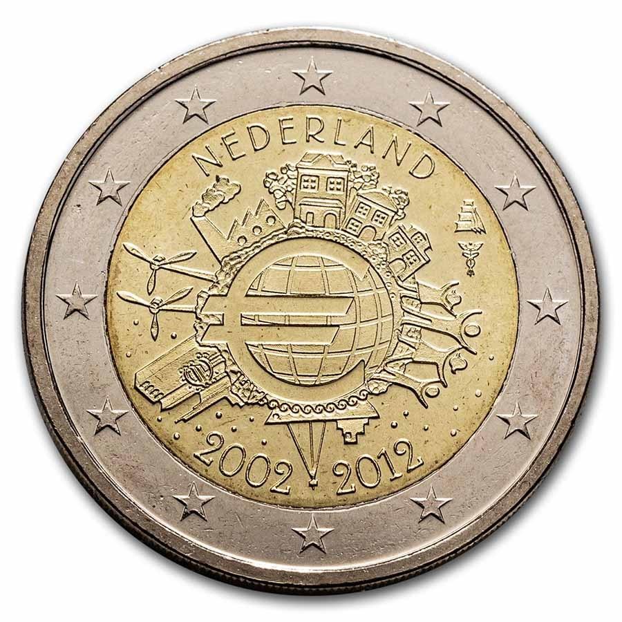 2012 Netherlands 2 Euro 10 Years of the Euro BU