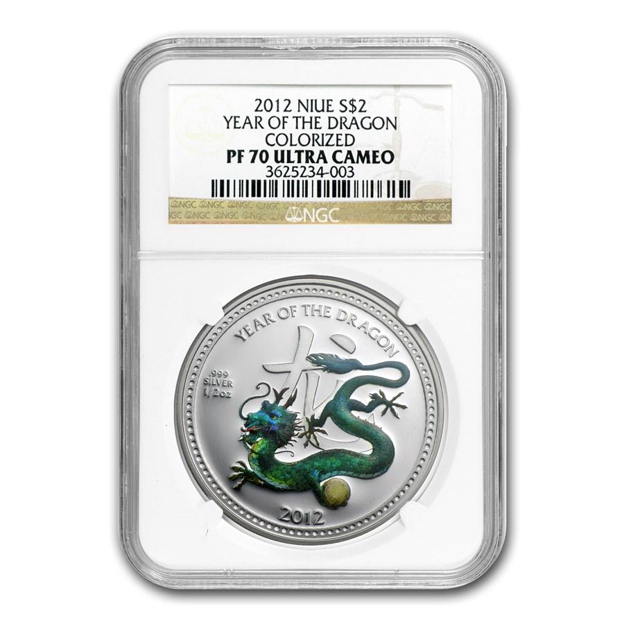2012 Niue 1/2 oz Silver $2 Pearl Dragon PF-70 NGC