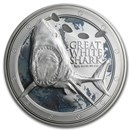 2012 Niue 1 oz Silver $2 Great White Shark (w/Box & COA)