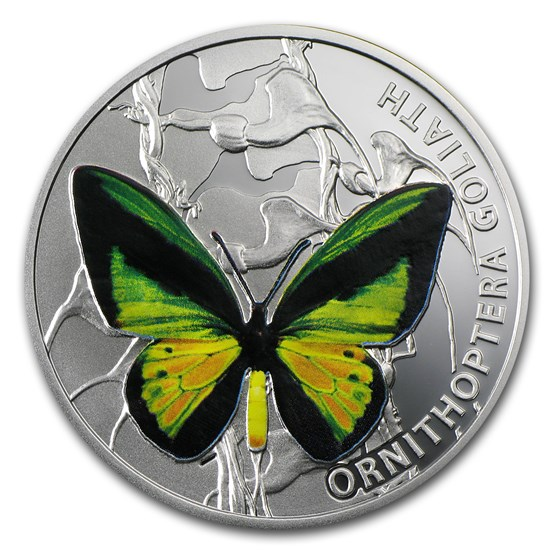 2012 Niue Proof Silver $1 Butterflies Goliath Birdwing