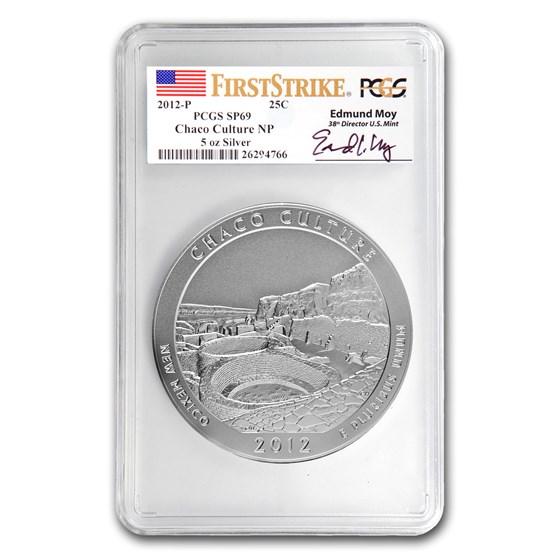 2012-P 5 oz Silver ATB Chaco Culture SP-69 PCGS (FS, Moy Label)