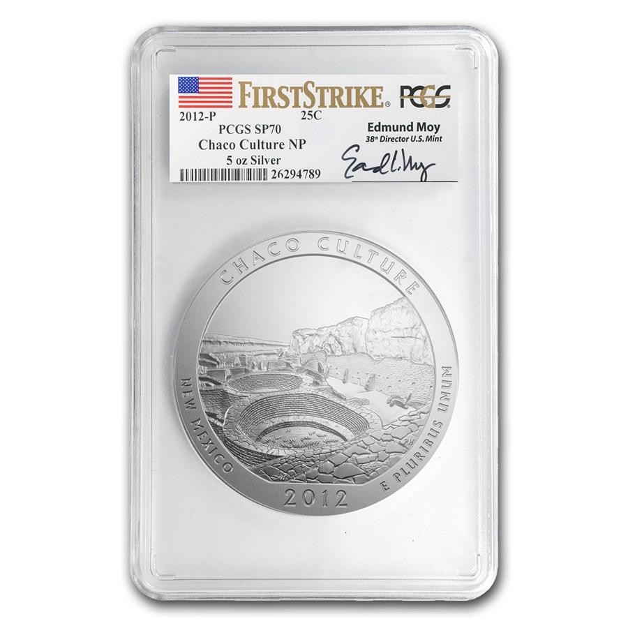 2012-P 5 oz Silver ATB Chaco Culture SP-70 PCGS (FS, Moy Label)
