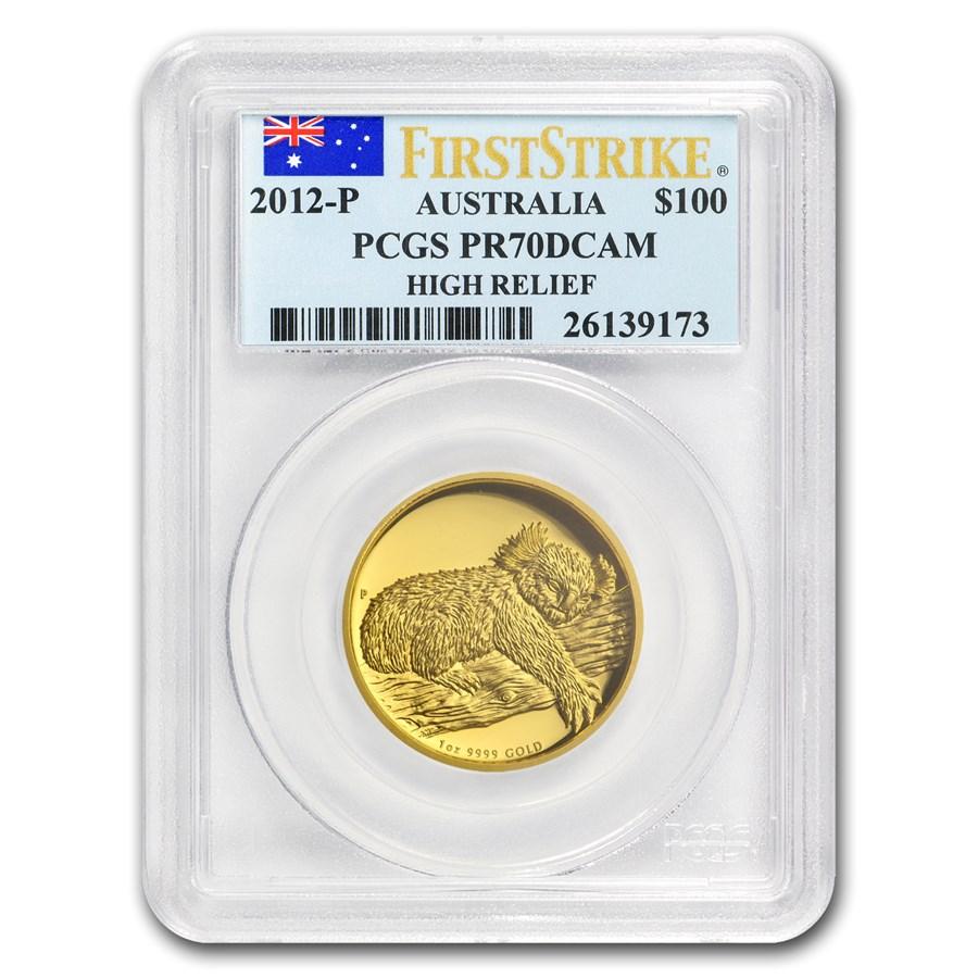 2012-P Australia 1 oz Gold Koala PR-70 PCGS (FS, High Relief)