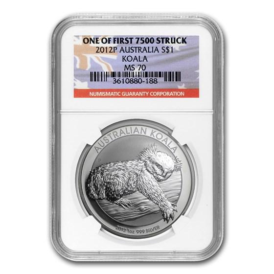 2012-P Australia 1 oz Silver Koala MS-70 NGC (1st of 7,500)