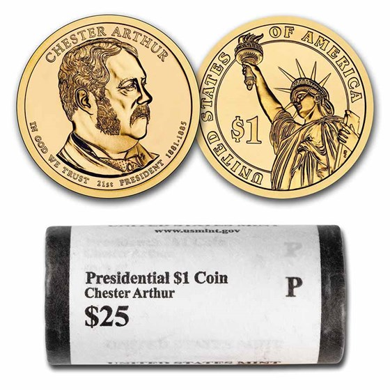 2012-P Chester Arthur 25-Coin Presidential Dollar Roll BU