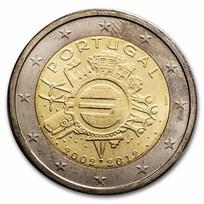 2012 Portugal 2 Euro 10 Years of the Euro BU