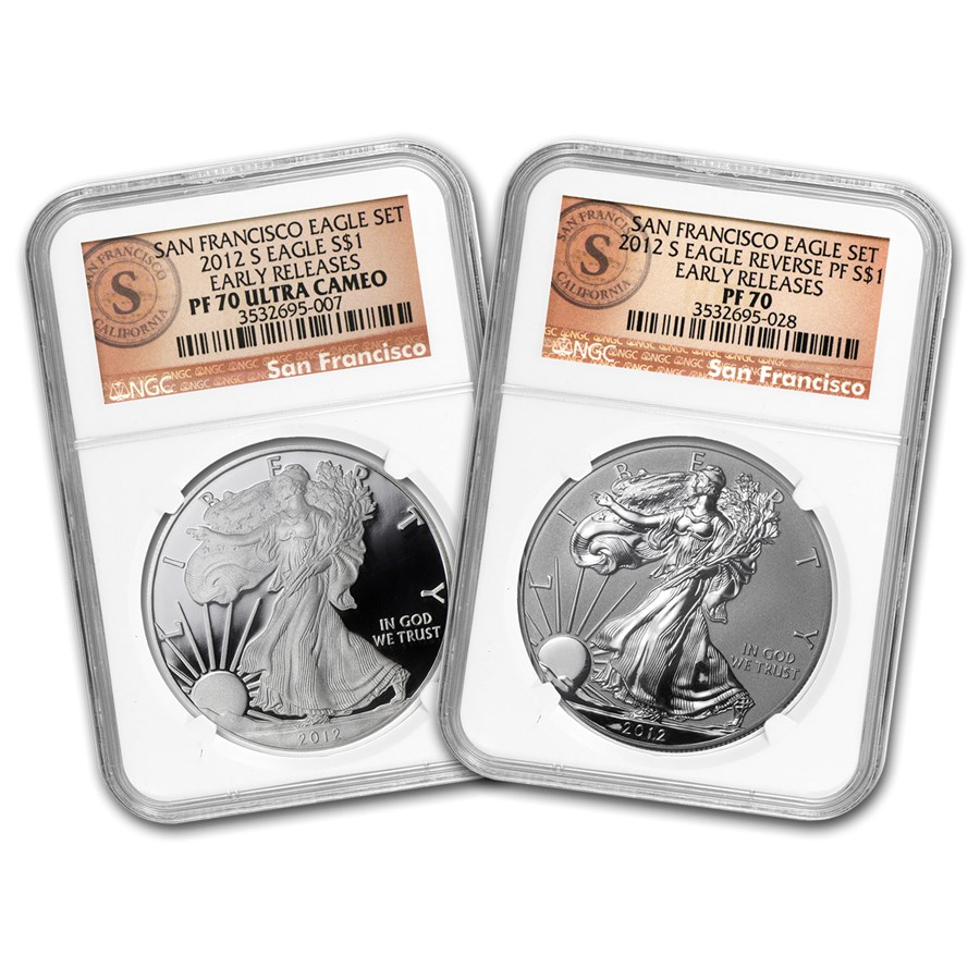 2012-S 2-Coin Prf Silver Eagle Set PF-70 NGC (ER/FR, 75th Anniv)